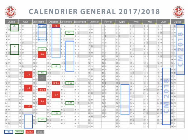 Calendrier général 2017 - 2018. (Photo FTF)