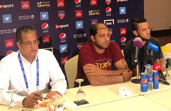 Mouine Chaâbani et Mbarki en conférence de presse d'avant-match. (Photo @UAFAAC)