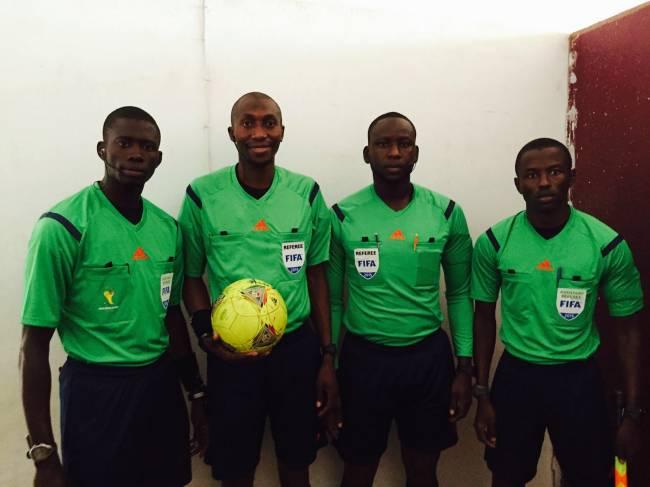 L'arbitre sénégalais Malang Diédhiou et ses assistants Djibril Camara et El Hadji Malick Samba. (Photo Referees FIFA)