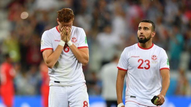 Déception tunisienne à l'issue de la défaite face à l'Angleterre. (Photo FIFA)