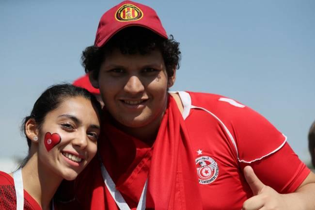 Supporters tunisiens, avant Belgique - Tunisie. (Image FIFA)