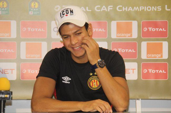 Le joueur Maher Besseghaïer en conférence de presse d'avant-match. (Photo CAFOnline.com)