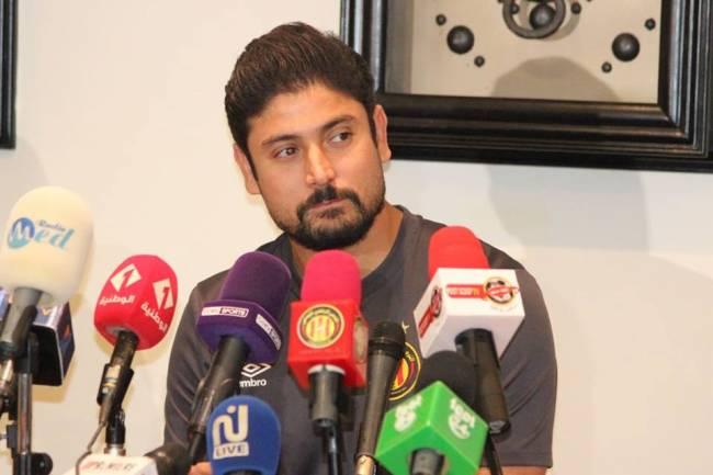 Le coach Majdi Traoui en conférence de presse d'avant-match.
