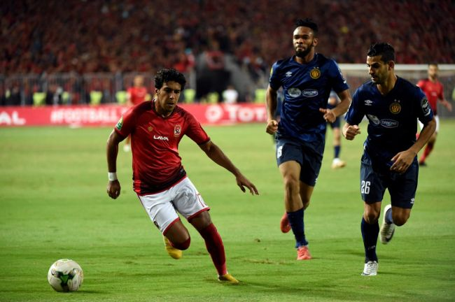 Despite VAR evidence, Mehdi Abid Charef upholds suspicious decisons to offer Al Ahly first-leg advantage. Photo | AFP