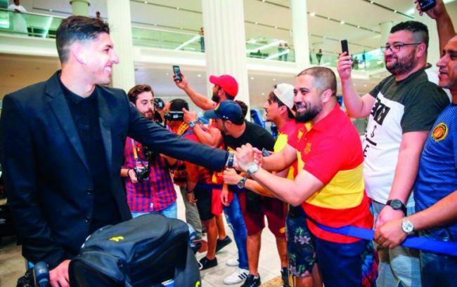 Esperance welcomed by fans at Hamad International Airport in Doha. Photo | The Peninsula Qatar