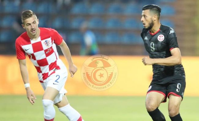 Anice Badri buteur face la Croatie en match de préparation pour la CAN Egypte 2019. (Photo @tunisiefootball)