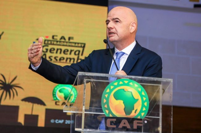 Infantino would like to see an African league and investment of more than $1 billion on stadia on the continent. Photo | CAF Online