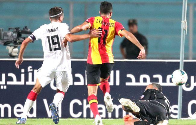 Taha Yassine Khenissi, auteur d'un doublé face à Nejmeh SC en championnat arabe des clubs. (Photo @UAFAAC)