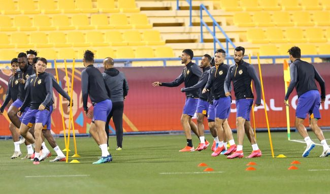 Les joueurs sang et or à l'entraînement au stade d'Al-Gharafa. (Photo QFA)
