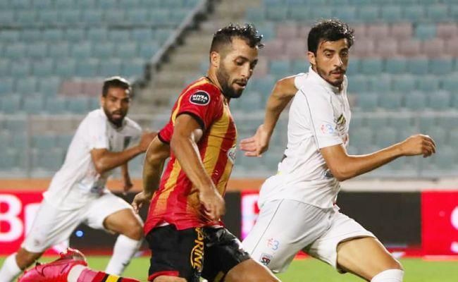 Abderrahmane Meziane, auteur du premier but face au Stade Tunisien, le 22 août 2020 au stade de Radès. (Photo est.org.tn)