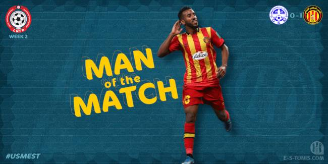 Hamdou Elhouni élu Homme du Match USMo - EST de la deuxième journée de Ligue 1.