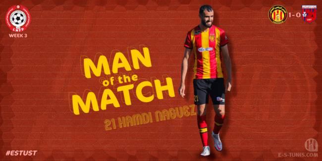 Hamdi Nagguez meilleur joueur du match EST - UST (1 - 0).