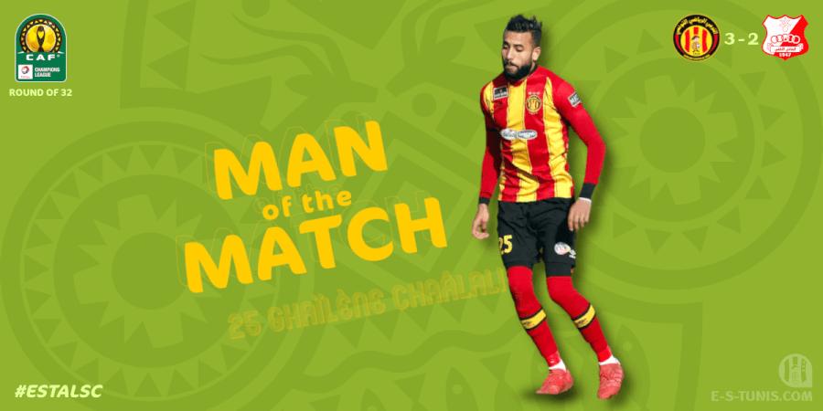 Ghaylène Chaâlali meilleur joueur Sang et Or du match EST - ALSC (3 - 2).