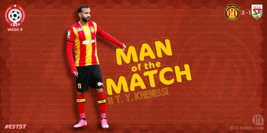 Taha Yassine Khenissi meilleur joueur du match EST - ST.