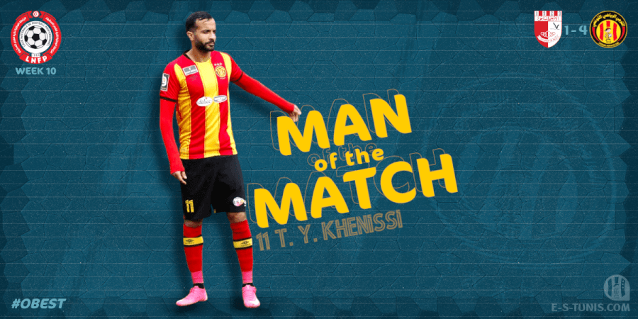 Taha Yassine Khenissi meilleur joueur du match OB - EST.