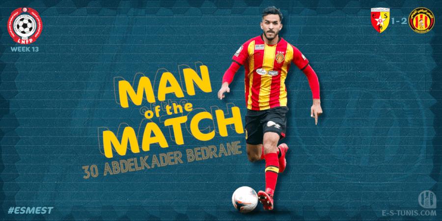 Abdel Kader Bedrane meilleur joueur du match ESM - EST.