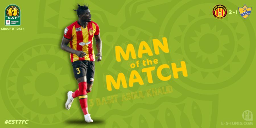 Abdul Basit Khalid meilleur joueur de la rencontre EST - TFC.