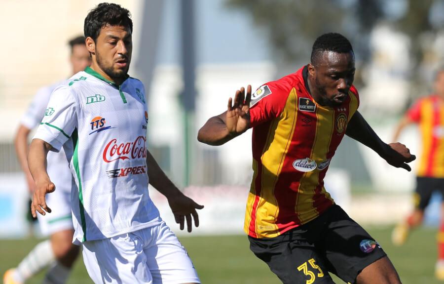 L'Ivoirien William Togui buteur lors de son premier match en Ligue 1, face à la JS Kairouanaise, le 17 février 2021 au stade Hamda Laâouani. (Photo est.og.tn)