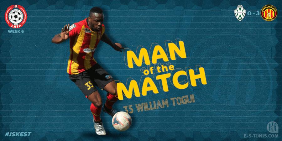 William Mel Togui meilleur joueur du match JSK - EST.