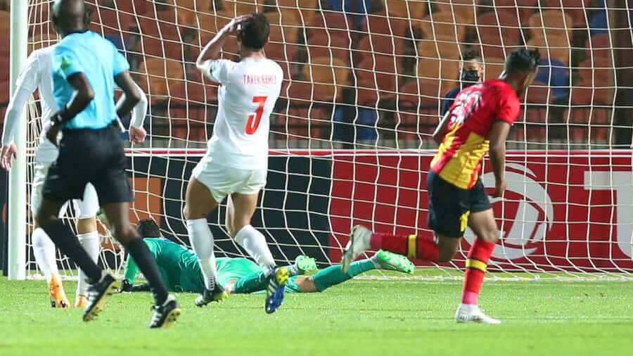 Hamdou Elhouni scores the lone goal of the ZSC - EST game in Cairo. Photo | CAF Online
