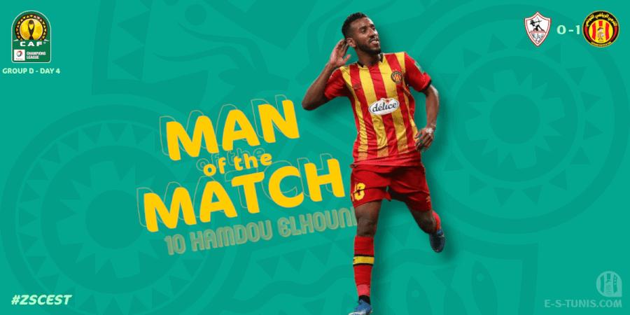 Hamdou Elhouni meilleur joueur du match ZSC - EST.