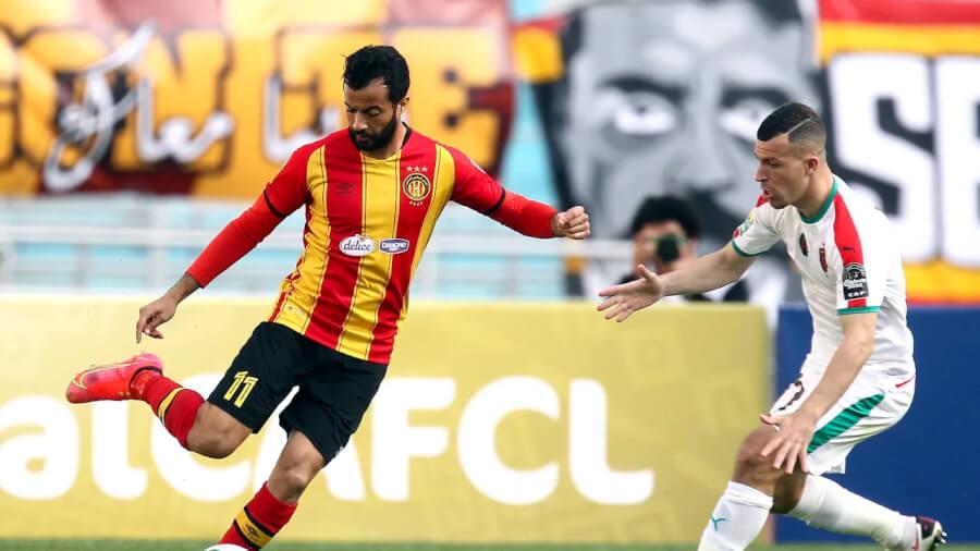Taha Yassine Khenissi lors du match de Ligue des champions face au MC Alger, le 10 avril 2021 à Radès. (Photo CAFOnline.com)