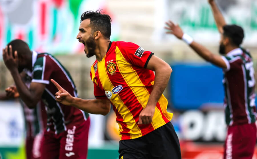 Abdelkader Bedrane auteur de l'unique but face au Stade Tunisien, le 1er mai 2021 au stade Hédi Ennifer. (Photo est.org.tn)
