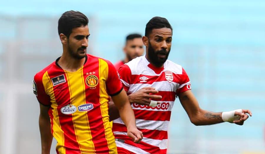 Mohamed-Ali Ben Romdhane et Saber Khalifa lors du derby du 5 mai 2021 à Radès. (Photo est.org.tn)