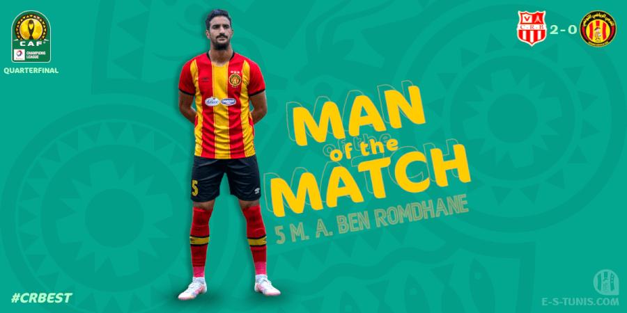 Mohammed Ali Ben Romdhane meilleur joueur Sang et Or du match CRB - EST.