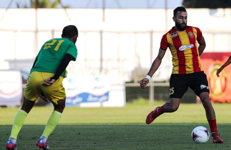 Ghaïlène Chaâlali lors du match amical de préparation face à l'AS Marsa, le 21 août 2021 au Parc B. (Photo est.org.tn)