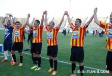 Les Sang et Or célèbrent leur victoire face au voisin clubiste à El Menzah le 11 avril 2012. (Photo CHALA)